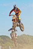 Dirt bike jumping Stock Photography