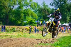 Dirt Bike Jumping. Uzhgorod, Ukraine - May 21, 2017: Dirt Bike Jumping. TransCarpathian regional Motocross Championship Royalty Free Stock Photos