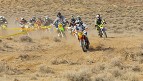 Dirt Bike Race First Turn Royalty Free Stock Photos