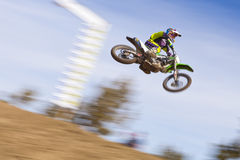 Dirt Bike Racer Jumping Stock Image