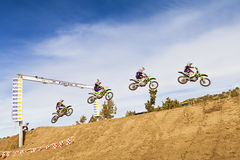 Dirt Bike Racer Sequential Jump Royalty Free Stock Images