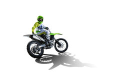 Dirt bike and rider isolated on white. Background royalty free stock images