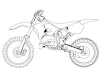 Dirt bike sketch. On a white background, isolated, sketch, drawing Royalty Free Stock Photos