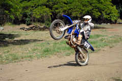 Dirt Bike wheelie. A dirt biker doing a wheelie royalty free stock image