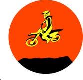 Dirt biker jump. Silhouette Motocross jump rider on a motorcycle. Dirt rider Vector illustrations Royalty Free Stock Photos