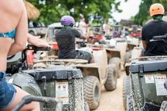 Dirt bikes and rides in mud in Dominican Republic Stock Images