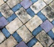 Dirt brick stone block floor have little dried leaf stock photo