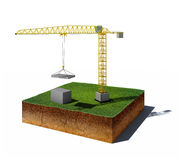 Dirt cube with crane and concrete blocks isolated on white backg. 3d illustration of soil cutaway. Aerial view dirt cube with crane and concrete blocks isolated Stock Images
