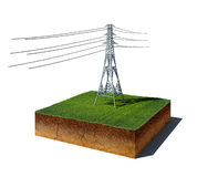 Dirt cube with electricity transmission pylon isolated on white Stock Photo