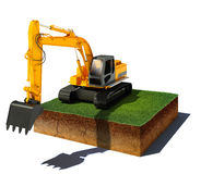 Dirt cube with excavator isolated on white background. 3d illustration of soil cutaway. Aerial view dirt cube with excavator isolated on white background Stock Photography