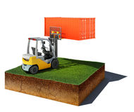 Dirt cube with forklift and container isolated on white backgrou Royalty Free Stock Photography