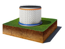 Dirt cube with oil or gas storageoil or gas storage isolated on Royalty Free Stock Photography
