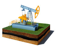 Dirt cube with pump jack isolated on white background Stock Images