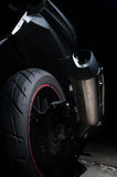 Dirt on exhaust of touring motorcycle Stock Image