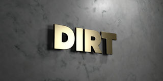 Dirt - Gold sign mounted on glossy marble wall  - 3D rendered royalty free stock illustration Royalty Free Stock Photos