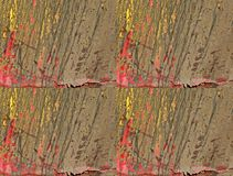 DIRT GRUNGE BACKGROUND ON RED AND YELLOW BLISTERING PAINT. Duplicated background of a red and yellow painted surface with dirt and grunge on the surface and stock images