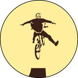 Dirt jumper vector. Dirt jumping Vector illustration sport bicycle racer jumper sign Stock Photography