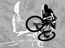 Dirt jumping. Competitions on dirt jumping. A vector illustration Stock Illustration