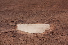 Dirt kicked on home plate. Closeup of home plate with dirt kicked on it Royalty Free Stock Image