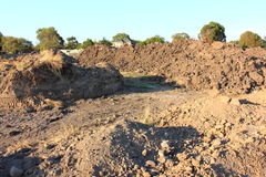 Dirt mound at construction site Royalty Free Stock Images