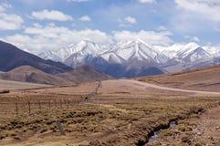 Dirt mountain road in Tibet stock image