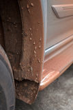 Dirt and mud on mudguard. And wheel Royalty Free Stock Image