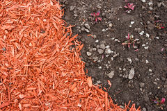 Dirt and mulch. Black dirt and red mulch background Stock Photography