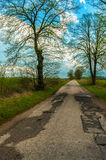 Dirt old road, disappearing into the field Royalty Free Stock Photos