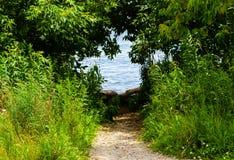 Dirt path leading to water through shrubs. Dirt path leading into hole in green shrubs to water Stock Photos