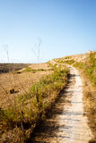 Dirt path winding through fields in the countryside around Wied. Il-Mielah. Gozo, Malta, Zebbug Stock Photography