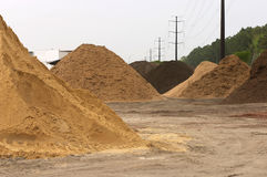 Dirt piles. Piles of dirt sand and mulch stock photography