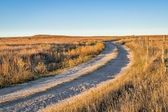 Dirt ranch road in prairie of western Kansas Royalty Free Stock Photography