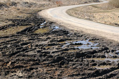 Dirt road. Fields dirt road in a sunny day Royalty Free Stock Images