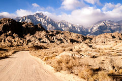Dirt Road into Alabama Hills Sierra Nevada Range California Stock Images