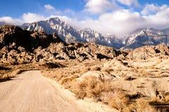 Dirt Road into Alabama Hills Sierra Nevada Range California Stock Images