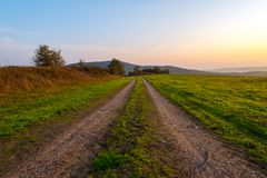 A dirt road along farm field. At sunset Royalty Free Stock Photo