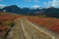 Dirt road in the autumn mountains. Stock Images