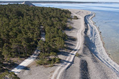 Dirt road and beach Stock Photo
