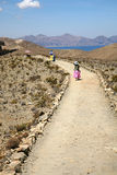 Dirt Road, Bolivia. Path on Isla del Sol on Lake Titicaca, Bolivia Royalty Free Stock Images
