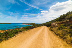 Dirt road in Capo Coda Cavallo Royalty Free Stock Images