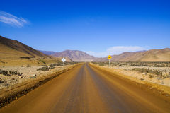 Dirt road in Chile. A long and empty road in the desert in northen Chile Royalty Free Stock Photography