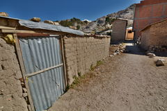 A dirt road in Comunidad Challapampa. Isla del Sol. Lake Titicaca. Bolivia Royalty Free Stock Image