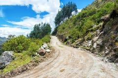 Dirt Road in the Cordillera Blanca Royalty Free Stock Images