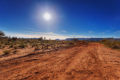 Dirt road through desert Royalty Free Stock Photography