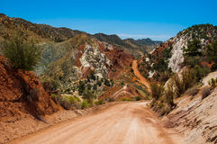 Dirt Road in a Desert on a hot day Stock Photography
