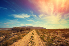 The dirt road in desert Stock Photos