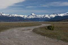 Dirt road of Estancia Cristina in Los Glaciares National Park. The estancia cristina on the Lake Argentino, near the upsala glacier, in los glaciares national Stock Photos