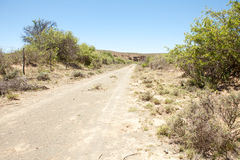 Dirt road on farm in arid region Stock Images