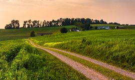Dirt road and farm fields in rural Southern York County, Pennsylvania at sunset. stock image