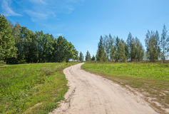 Dirt road through a field stock image